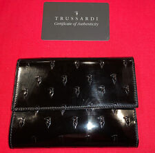 Trussardi Glossy Leather Bifold Wallet made In Italy
