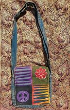 Om Peace Slash Patchwork Bag, Stonewash Colourful Design, Hippy Boho Festival