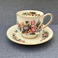 PARAGON LAVINIA CUP & SAUCER SET - 1960s FLORAL BLUE & PINK GILDED CHINA
