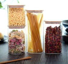 Vorratsglas  Vorratsdosen Glasbehälter mit Bambus Deckel 4 Größen eckig