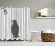 Silhouette Penguin Taking Shower Fabric Shower Curtain Digital Art Bathroom
