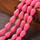 New Arrival 10pcs 16X10mm Faceted Teardrop Loose Spacer Glass Beads Deep Pink