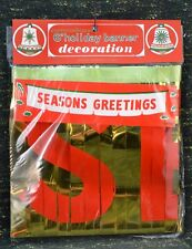 """Vtg """"Seasons Greetings"""" 6 ft Holiday Banner NEW in Pkg Made in Japan Commodore"""
