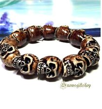 Cool Men's Skull Hip Hop Fashion Character Immitation Yak Bone Bracelet