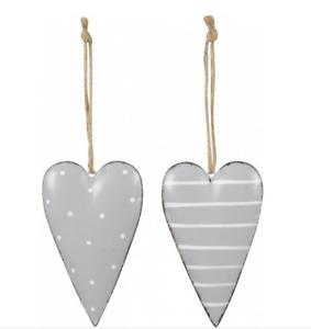 Pair of Grey Metal Hanging Heart Decorations