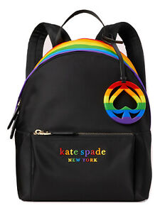 Kate Spade Rainbow Pride Nylon Backpack Tote Purse Black Original Packaging NWT
