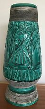 Vintage Italian Pottery Vase with Sgrafitto Design of Stylized Women