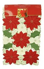 Homewear Cutwork Collection Puffy Poinsettia 72-Inch Easy Care Quilted Table...