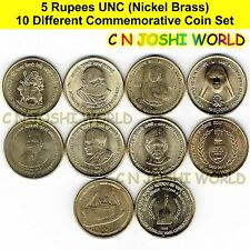 Very Rare 10 Different Nickel Brass Rs 5 Commemorative Five Rupees UNC Coins Set