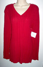 WOMENS SWEATER XL TRUE RED LONG SLEEVE CROFT & BARROW NEWw/TAGS