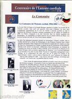 FDC FRANCE/GB, DOCUMENT CENTENAIRE ENTENTE CORDIALE, EDOUARD VII, 1° jour 6.4.04