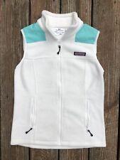 Vineyard Vines Full Zip Fleece Jacket Vest Women's XS White/Teal Sewn Logo EUC