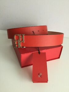 Carolina Herrera CH LOGO Woman's RED Leather Belt.