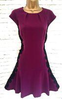 Spotlight by Warehouse Purple Black Lace Dress Fit & Flare Evening Party UK 12
