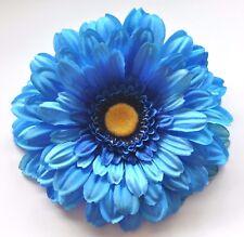 "5"" Ocean Blue Gerbera Daisy Silk Flower Hair Clip Wedding Prom Bridesmaid"