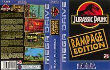Jurassic Park Rampage Sega Mega Drive PAL Caja De sustitución Cubierta Estuche De Arte Insertar
