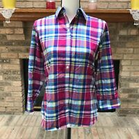 Chaps Women's No Iron Shirt Long Sleeve Blue Pink Plaid 100% Cotton Size S / P