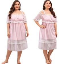 Women Loose Short Sleeve Lace Dress Summer Casual Holiday Beach Dress Homewear