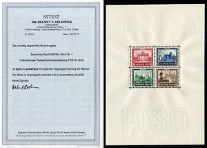 """DEUTSCHES REICH 1930- Block 1 ** """"IPOSTA"""" FA Fotoattest echt + einwandfrei 1600€"""