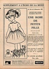 ▬► Patron Couture Supplément Écho de la Mode Robe de Petite Fille 6ans N°50 1961