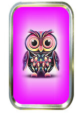 Pink Owl 1oz Gold Tobacco Tin,Sweet Tin,Stash Can, Small Pocket Tin,Birds,pill