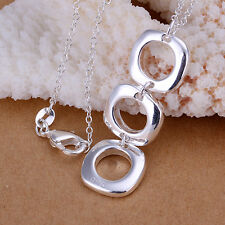 New Wholesale 925 Sterling Silver Filled Solid Womens Square Pendant Necklace