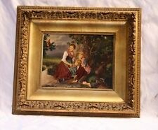 MAGNIFICENT 19c  EUROPEAN OIL ON BOARD PAINTING BY  SCHLESINGER  LISTED ARTIST