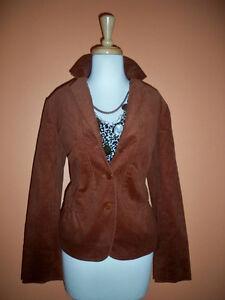 New Talbots Size 10 Burnished Copper Finewale Corduroy Peplum Jacket Blazer