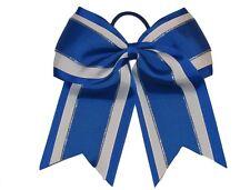"NEW ""Royal Blue Glitz"" Cheer Bow Pony Tail 3"" Ribbon Girls Bows Cheerleading"