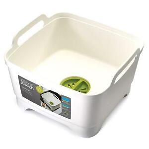 Joseph Joseph Wash & Drain Strain Washing Up Sink Bowl w/ Removeable Plug, White