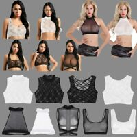 Sissy Women Mesh Sleeveless Floral Lace See Through Crop Top Vest Tank Top Shirt