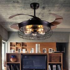 """48"""" Retractable Ceiling Fans Light w/Remote Led Chandelier Fans Light Kit Black"""