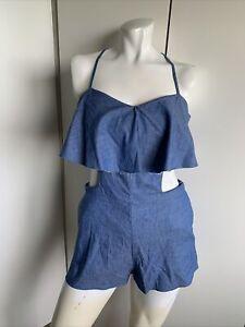*NWT* Zara cut out denim romper size S ruffle top blue backless Trafaluc