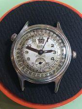 Vintage Chronograph Brevet Landau Triple Date Calendar 17J Wrist Watch 1950's