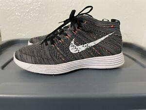 Nike Lunar Flyknit Chukka Midnight Fog, Black, Grey, Orange Size 8, 554969-081