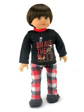 """18"""" American Girl/Our Generation Boy Dolls Clothes- Black/Red Plaid PJs"""