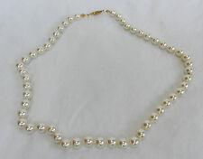 Vintage Mano Anudada Collar de Perlas de Imitación con broche de oro plateado 1950s