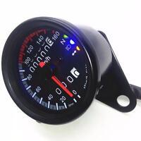 LED Backlight Signal Motorcycle Odometer KMH Speedometer Gauge Cafe Racer DLUK