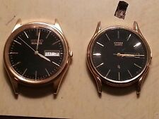 Seiko & Citizen Black Dial Gold Mens Quartz Dress Watches FOR PARTS/REPAIR