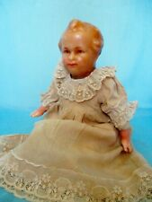 "Antique 15"" Poured Wax Baby Doll Wood Wool Stuffed Muslin Body + Wax Limbs"