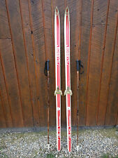 "VINTAGE Wooden 66"" Skis Has RED WHITE Finish Signed EDSYBYN + Bamboo Poles"