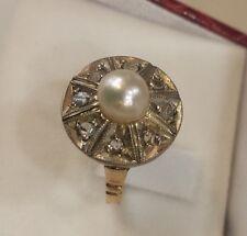 anello donna oro giallo perla e diamanti stile antico