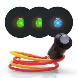 3 12V LED Dash Indicator Lights - 2 Green Turn Signal & 1 Blue High Beam Blinker
