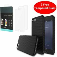 Carbon Fibre Case Cover Tempered Glass Screen Protector Apple iPhone 10 X 8 7 6s