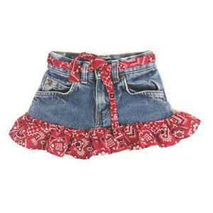 Handmade Denim Jean Skirt Girls 18-24 Months Bandana Print Trim Cowgirl Western