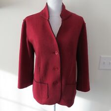 Eileen Fisher Size Medium M Sweater Top Red 100% Wool Buttons 3/4 Sleeve Jacket