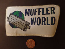 Iron on patch-MUFFLER WORLD.Logo.sign.NC.1980s.Original metal=ProductsOverTime