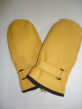 Ski Mittens Genuine Leather Finger Mittens, M/L Yellow