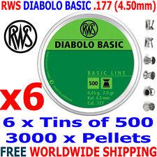 RWS DIABOLO BASIC .177 4.50mm Airgun Pellets 6 (tins)x500pcs (TRAINING) 0,45g