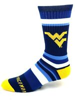 For Bare Feet West Virginia Mountaineers Rainbow Stripe Crew Socks